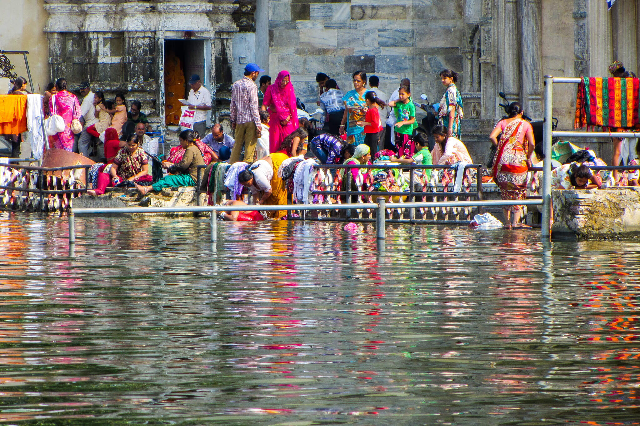 Indians washing clothes at Udaipur