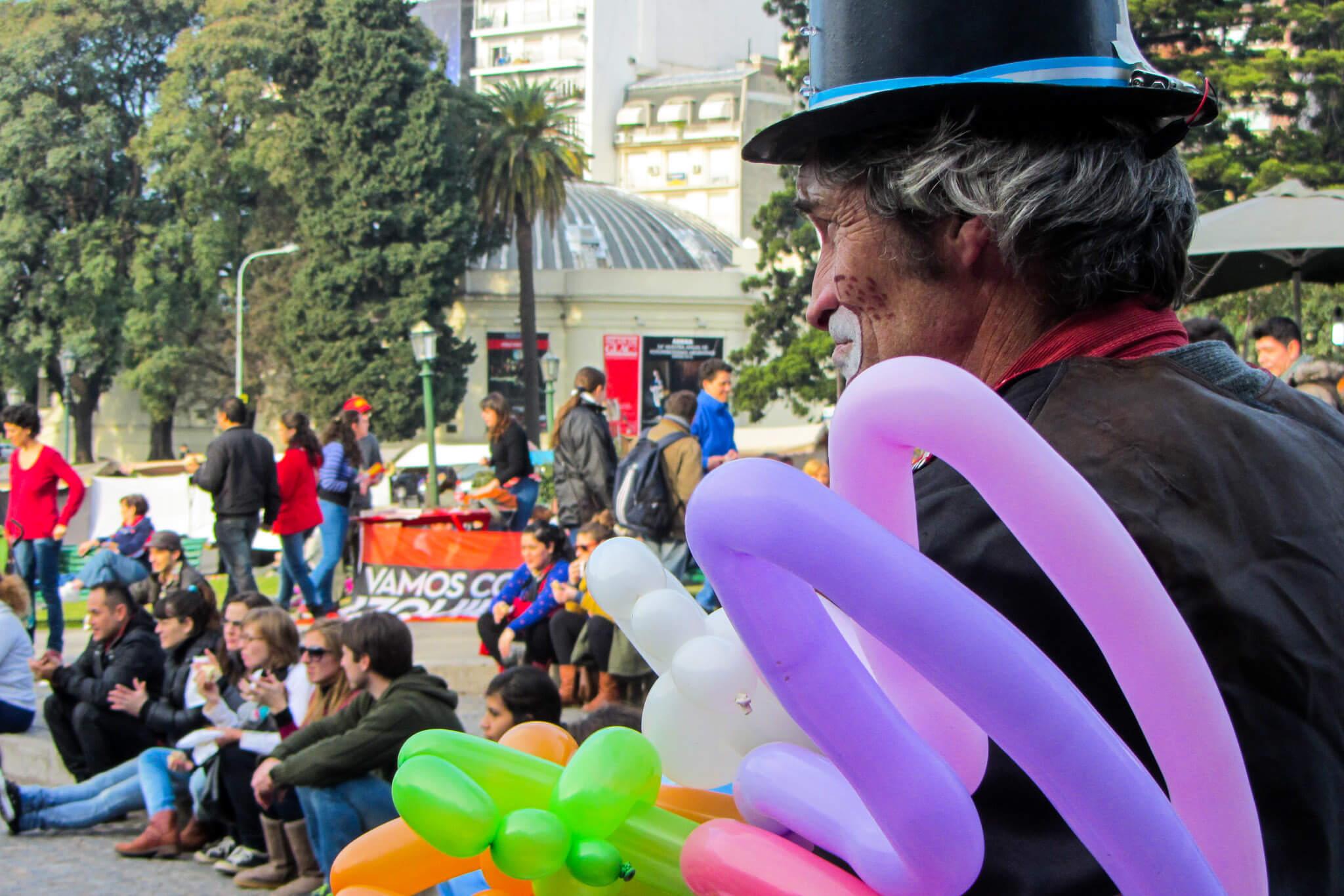 Sad clown in Buenos Aires