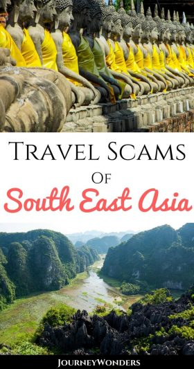 When backpacking Southeast Asia, make sure you're up to date on the Top 5 Travel Scams of South East Asia and how to avoid them. Learn about travel safety and how to protect yourself in #Thailand, #Cambodia, #Vietnam and other countries! #SEAsia #Scams