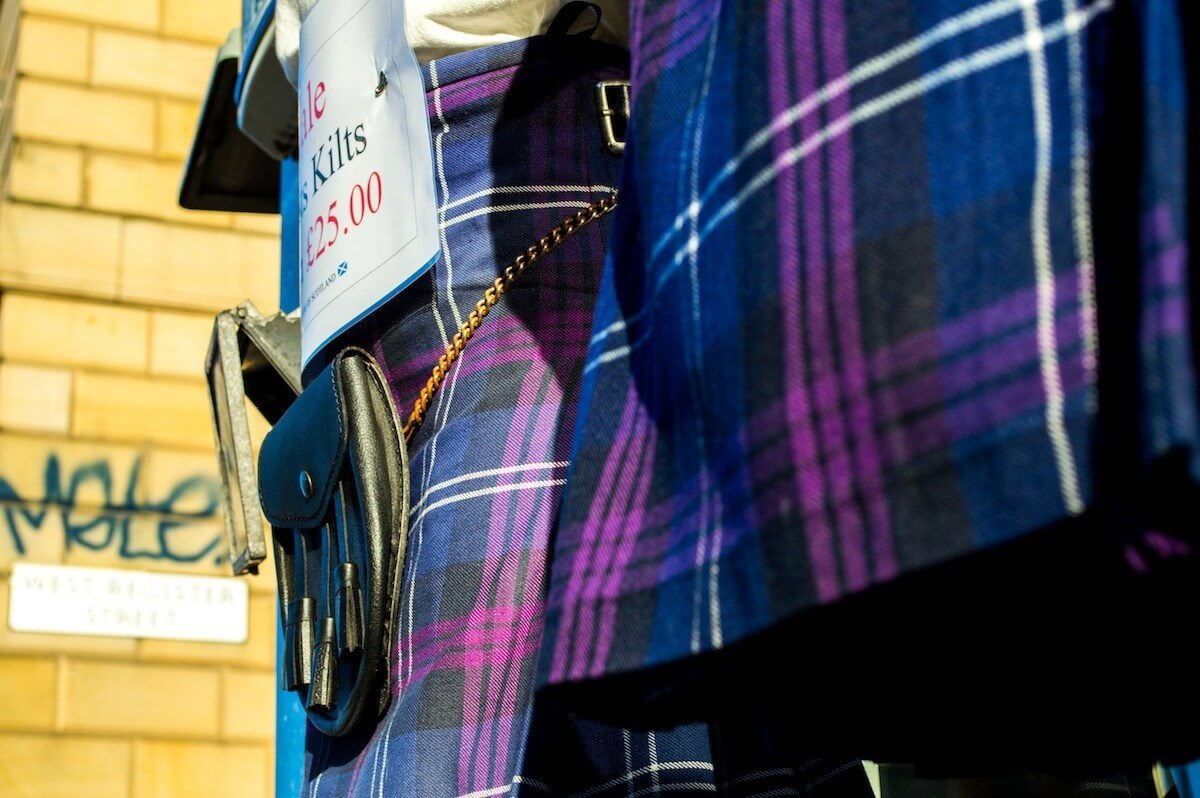 Party kilts being sold at Edinburgh