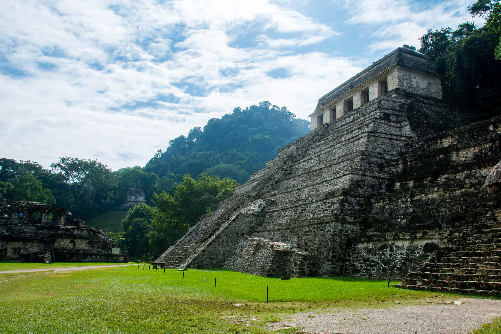 The majestic entrance to the ruins of Palenque