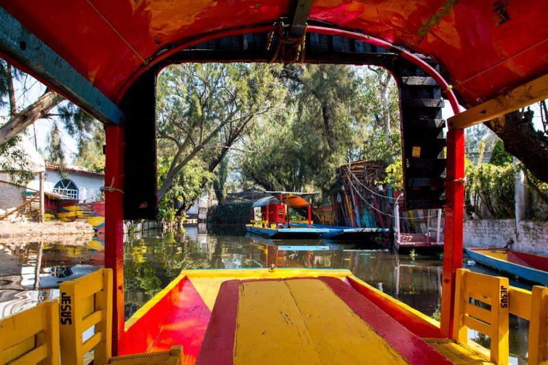 Inside the Trajinera of Xochimilco