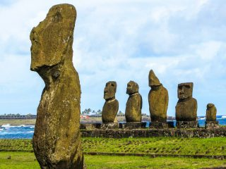 The Moai heads of Easter Island