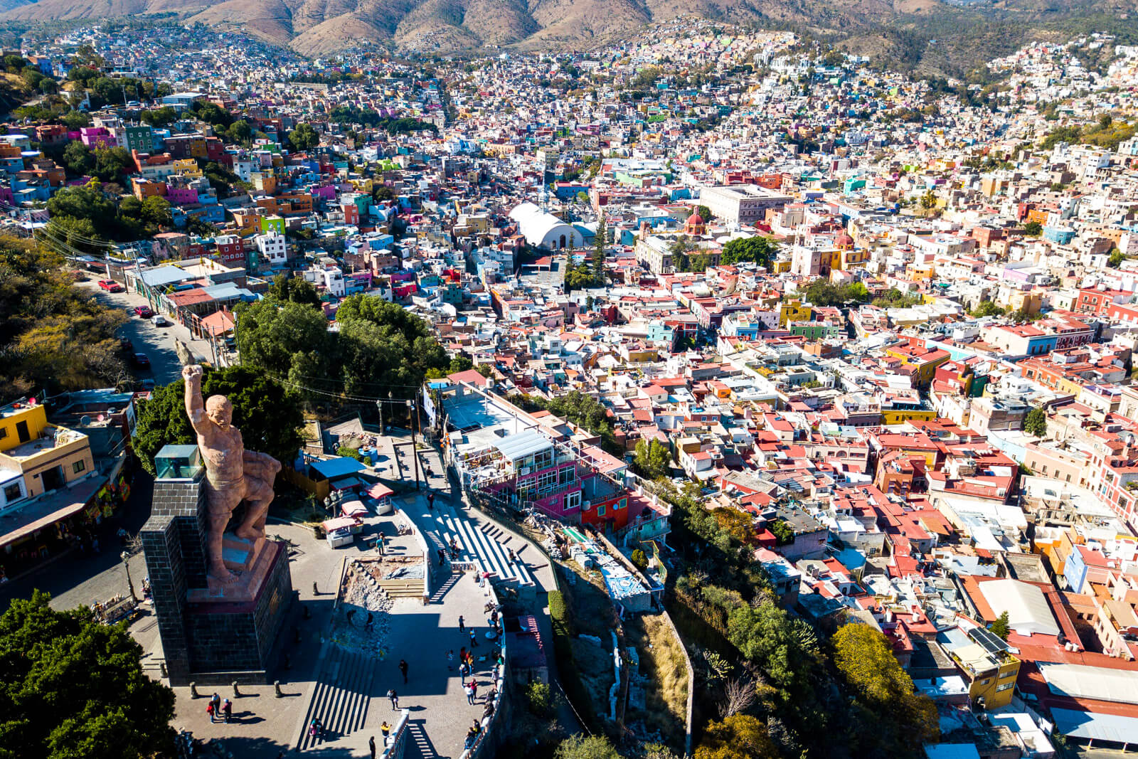 Drone view of the Pipila Lookout in Guanajuato City