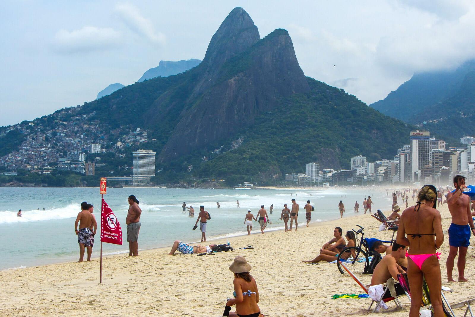 Ipanema beach at Rio de Janeiro, Brazil