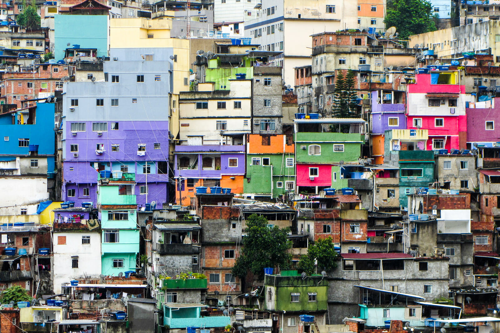 The colorful Rocinha favela houses of Rio