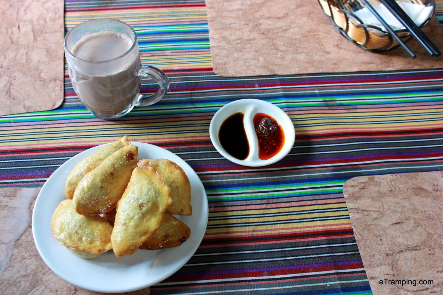 Fried momos with hot chocolate