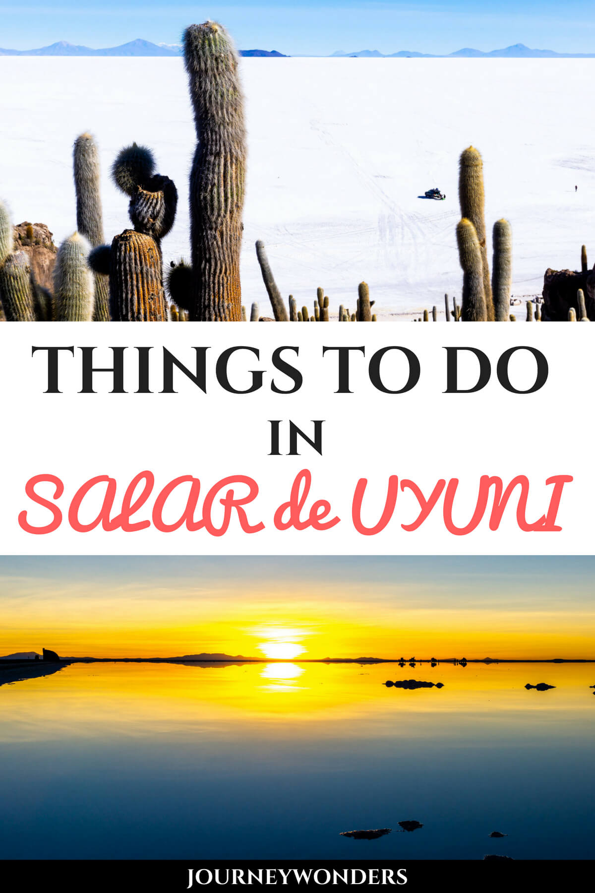 Planning a trip to the Salar de Uyuni in Bolivia? Here's some amazing travel tips to select the best day tour and enjoy the Salt Desert to the fullest! Who's ready to ride a T-Rex my wonder friends? #Uyuni #Bolivia #SalardeUyuni #SouthAmerica
