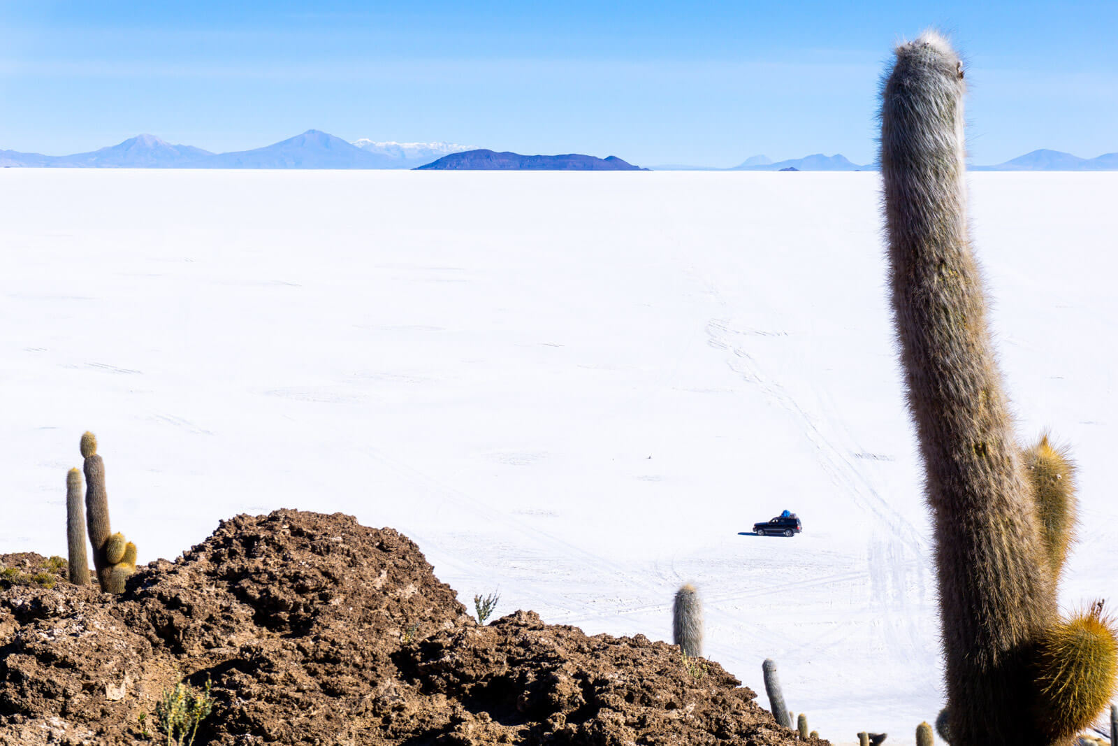 The view from the top of Incahuasi Island at the Salar de Uyuni