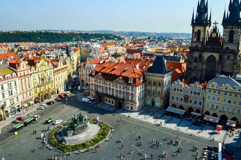 Panoramic view of Prague's main square