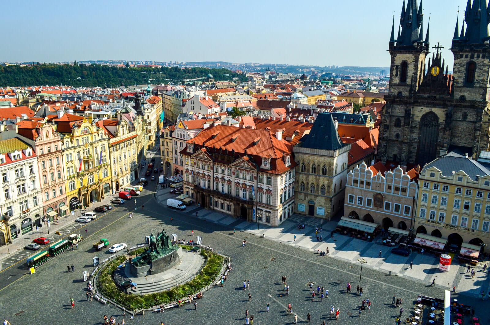 Panoramic view of Prague's main square