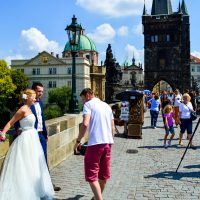 Romance at Charles Bridge in Prague