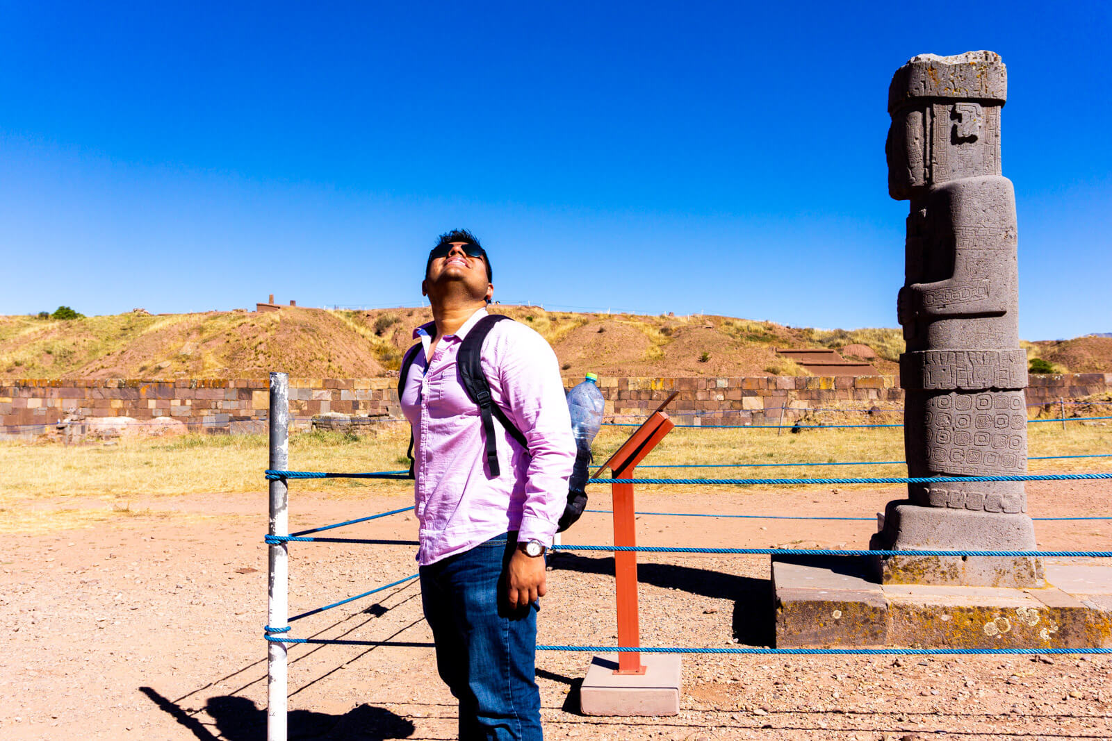 The Man of Wonders at Tiwanaku Ruins in Bolivia