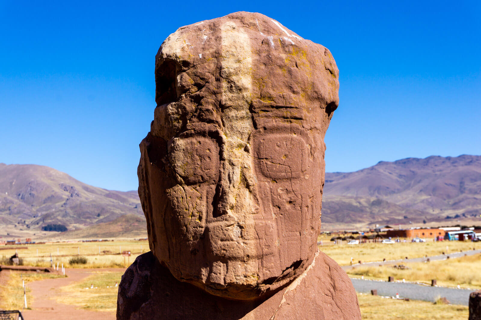 The details of the face of the Fraile Monolith in Tiwanaku Ruins