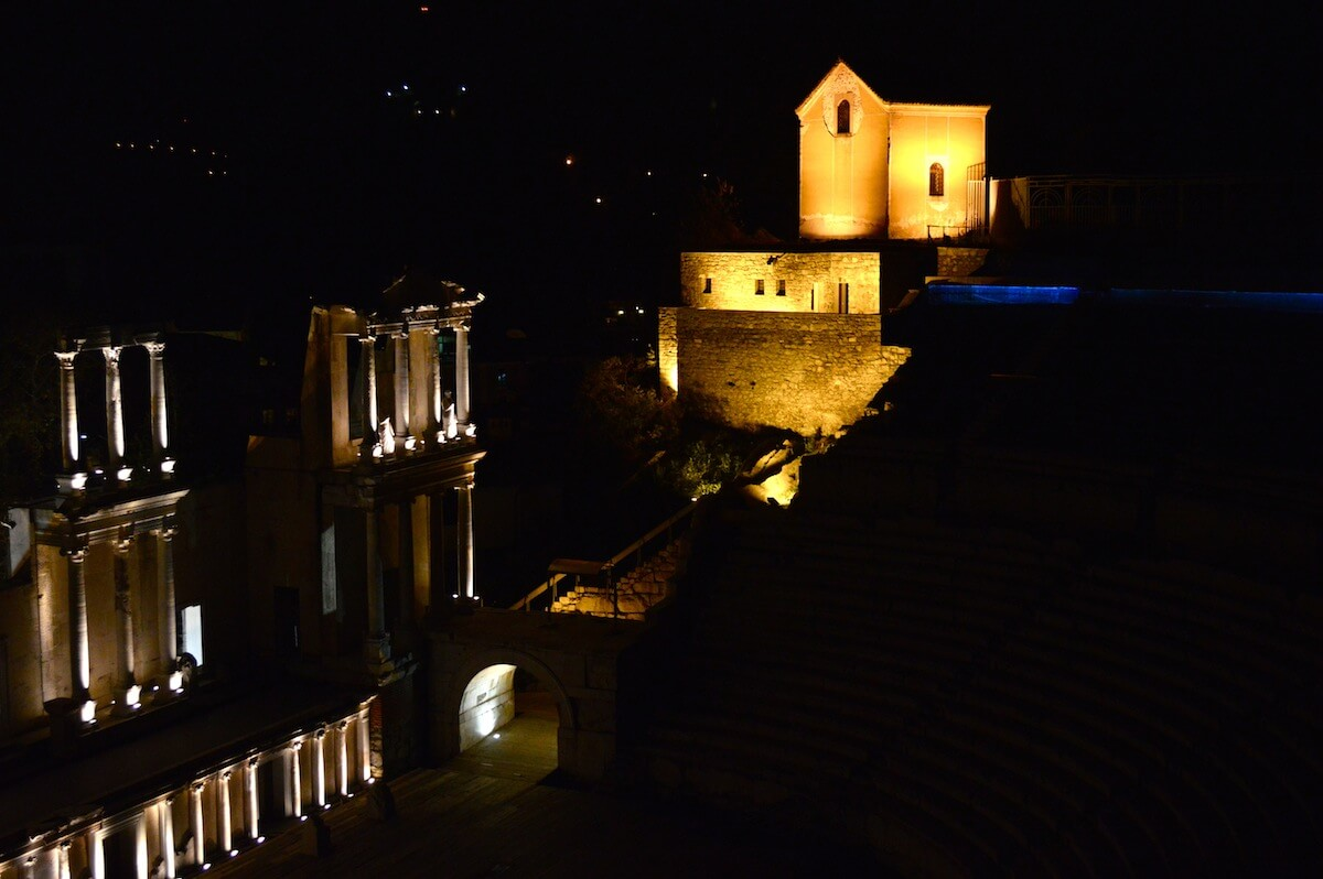 The Roman Ruins of Plovdiv at Night