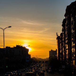 Urban sunset at Pristina, Kosovo