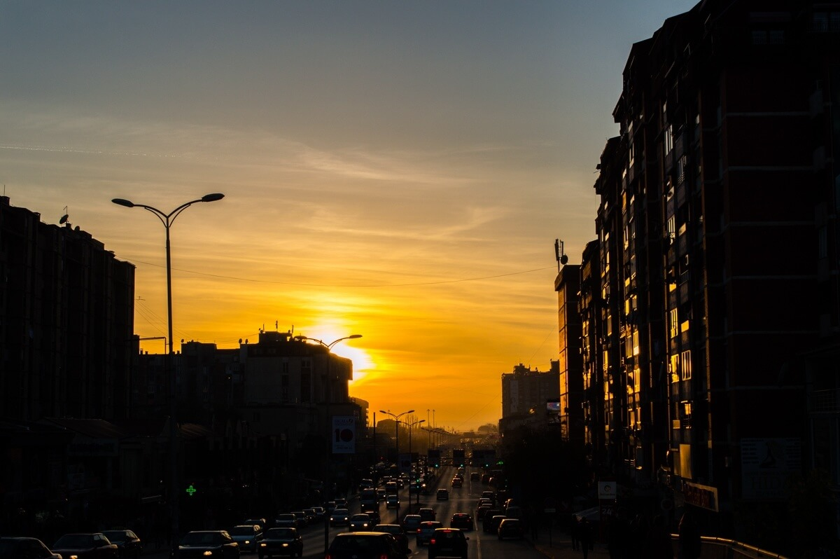 Urban sunset at Pristina, Kosovo