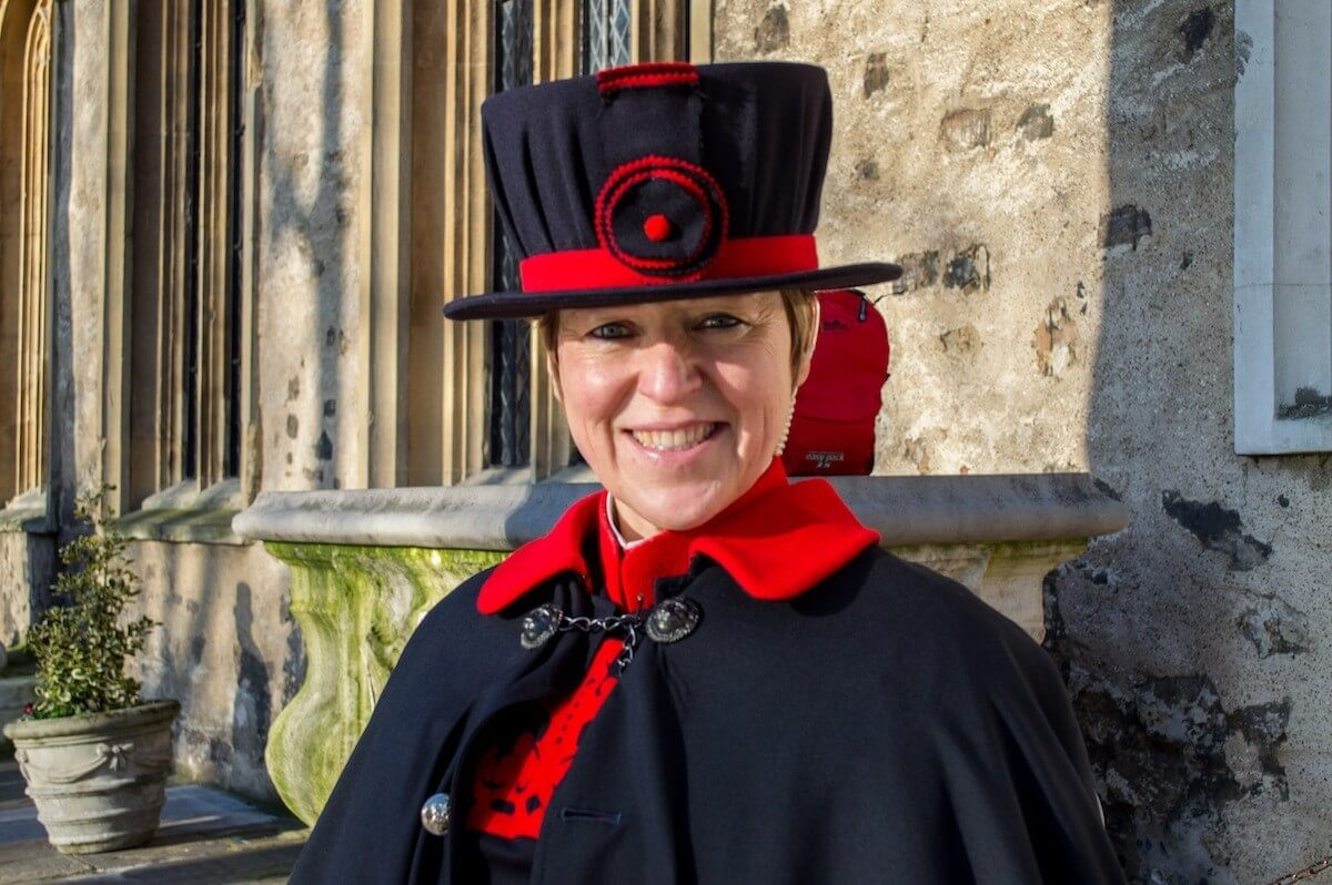 Beefeater female guard at the Tower of London