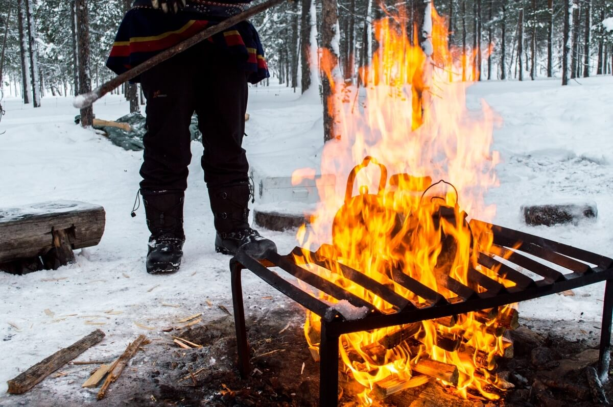 Fire in the woods of Lapland