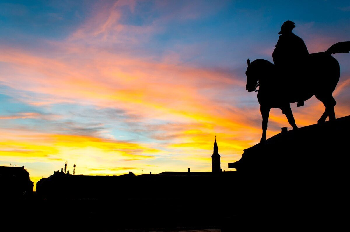 Horseman and sunset at Copenhagen