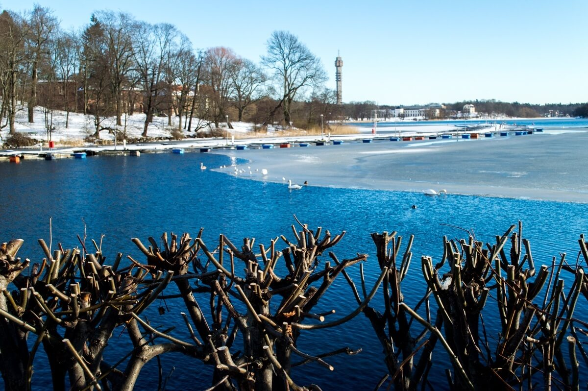 Stockholm and the Winter Frozen Lake