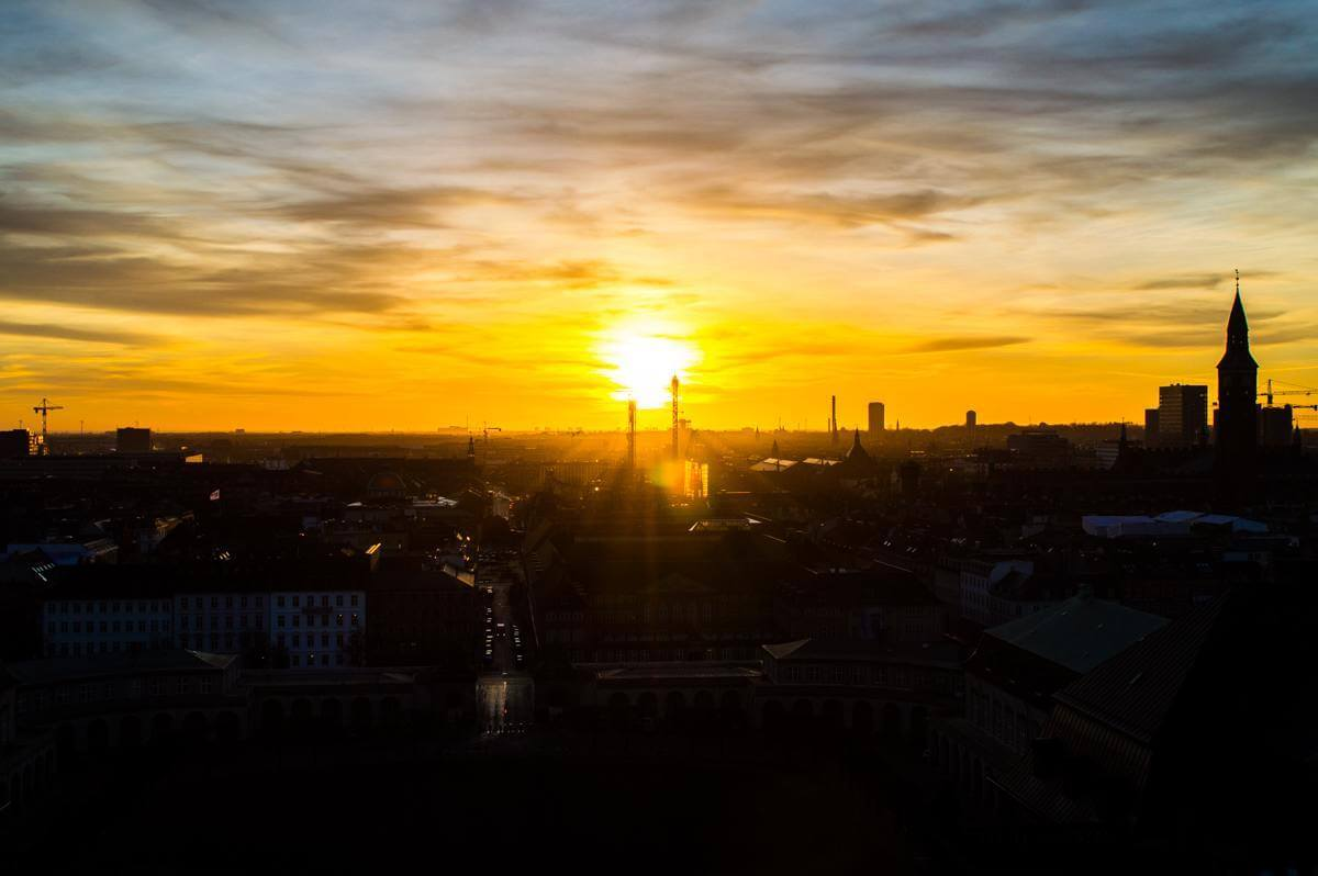 Sunset at Copenhagen seen from Parliament Tower