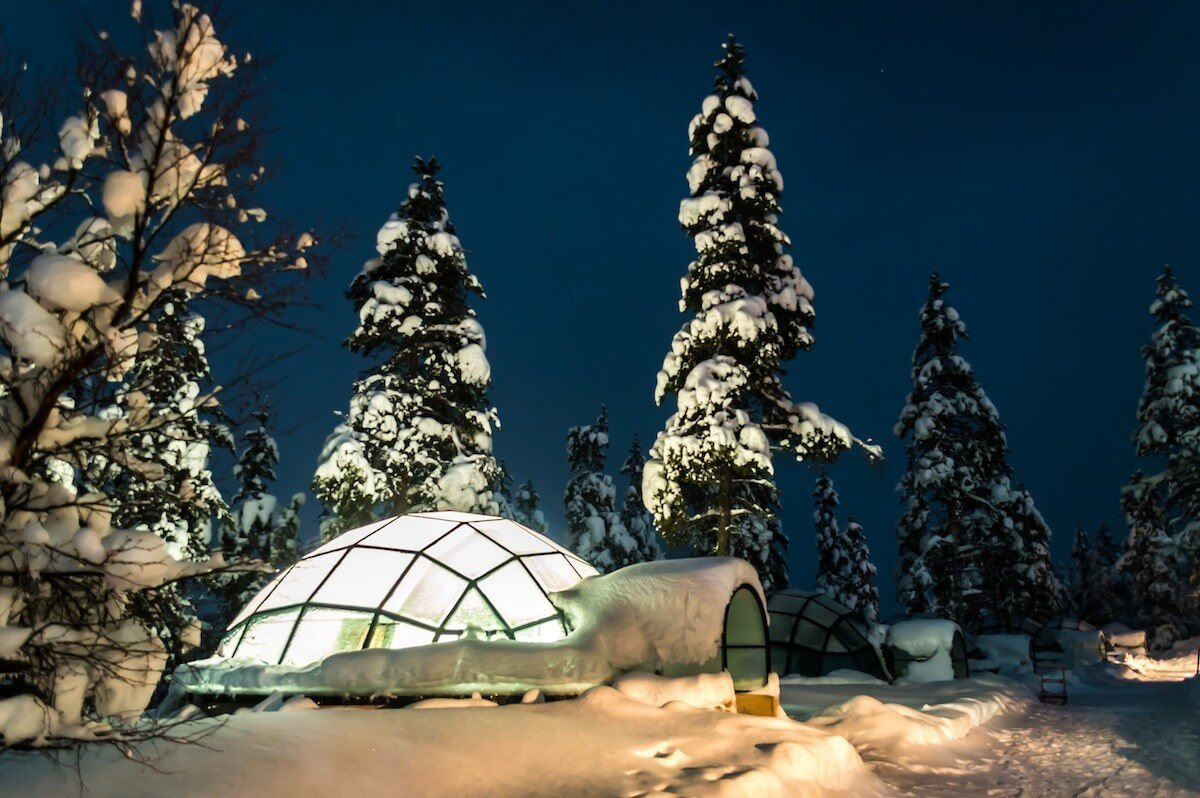 Glass Igloo Kakslauttanen Arctic Resort Finland.