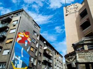 Communist architecture and street art at Belgrade, Serbia