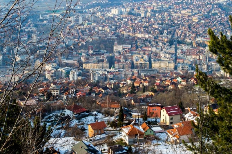 Sarajevo as seeon from the Olympic Mountains