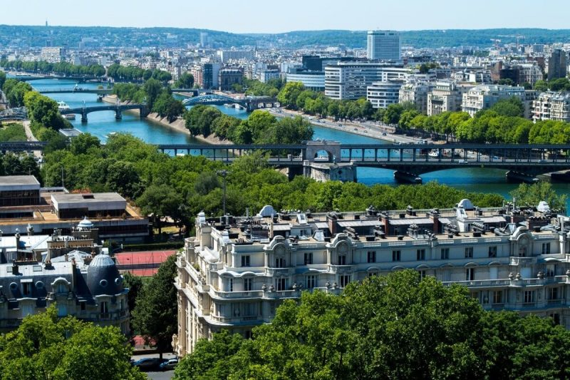 The Seine River as seen from atop the Eiffel Tower