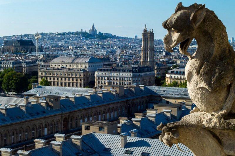 The gargoyles atop Notre Dame de Paris