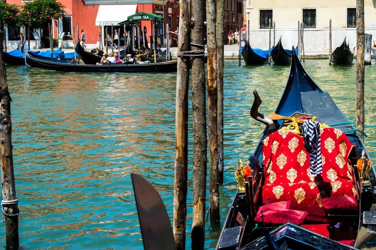 The traditional gondolas of Venice, Italy