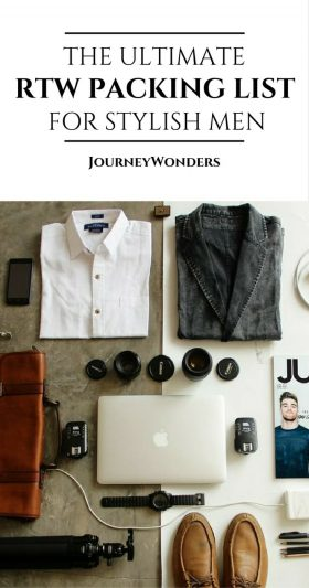 The complete men's packing list for a round the world trip in style. Read this guide to see what and what not to pack - perfect for long-term travel, short vacations, for the beach, for the city, road trips, and more via @journeywonders