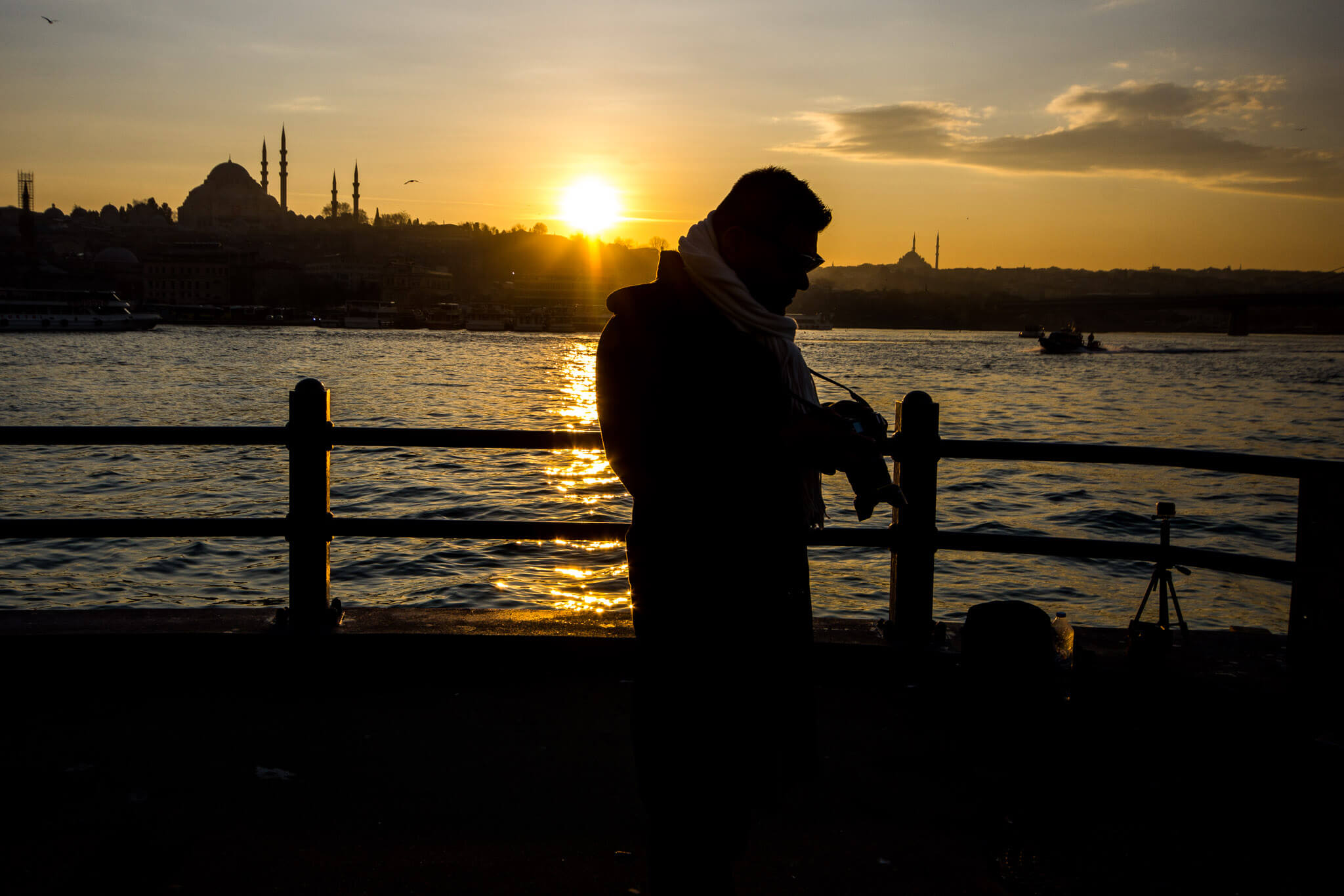 The Man of Wonders at the Golden Horn of Istanbul