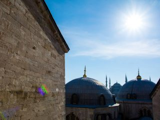 The view of the Blue Mosque from Hagia Sophia