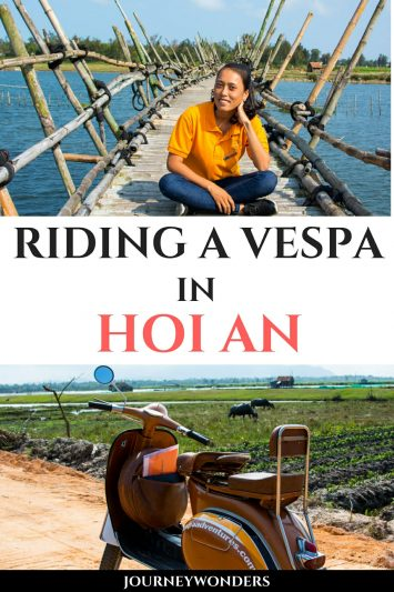 Riding a Vespa in Hoi An Vietnam Asia