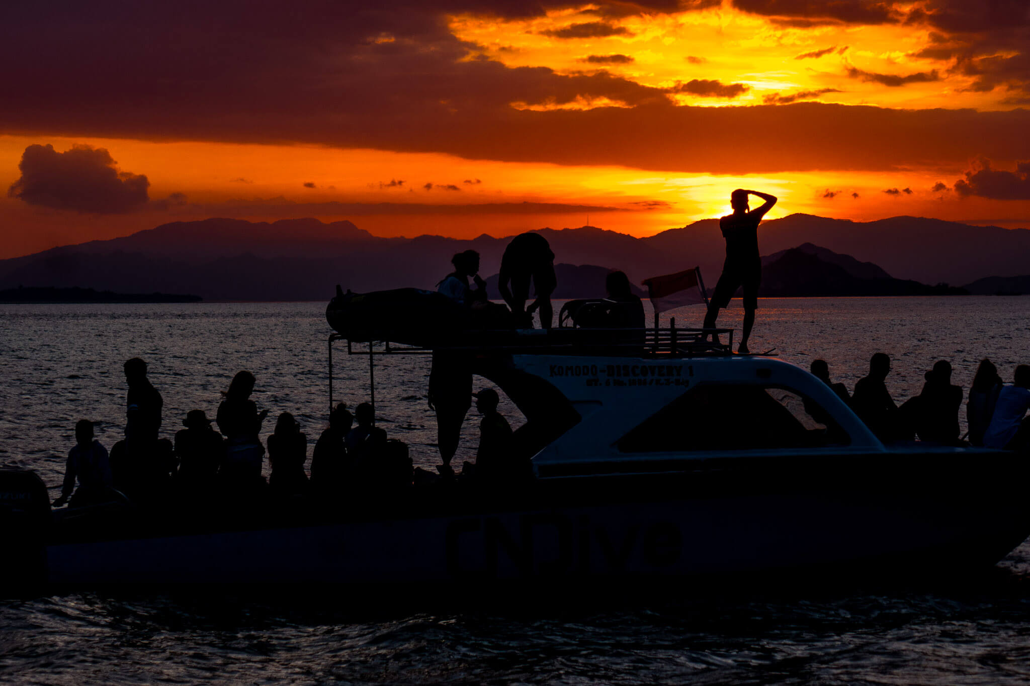 Sunset at Komodo Island after a day of adventure. Komodo National Park