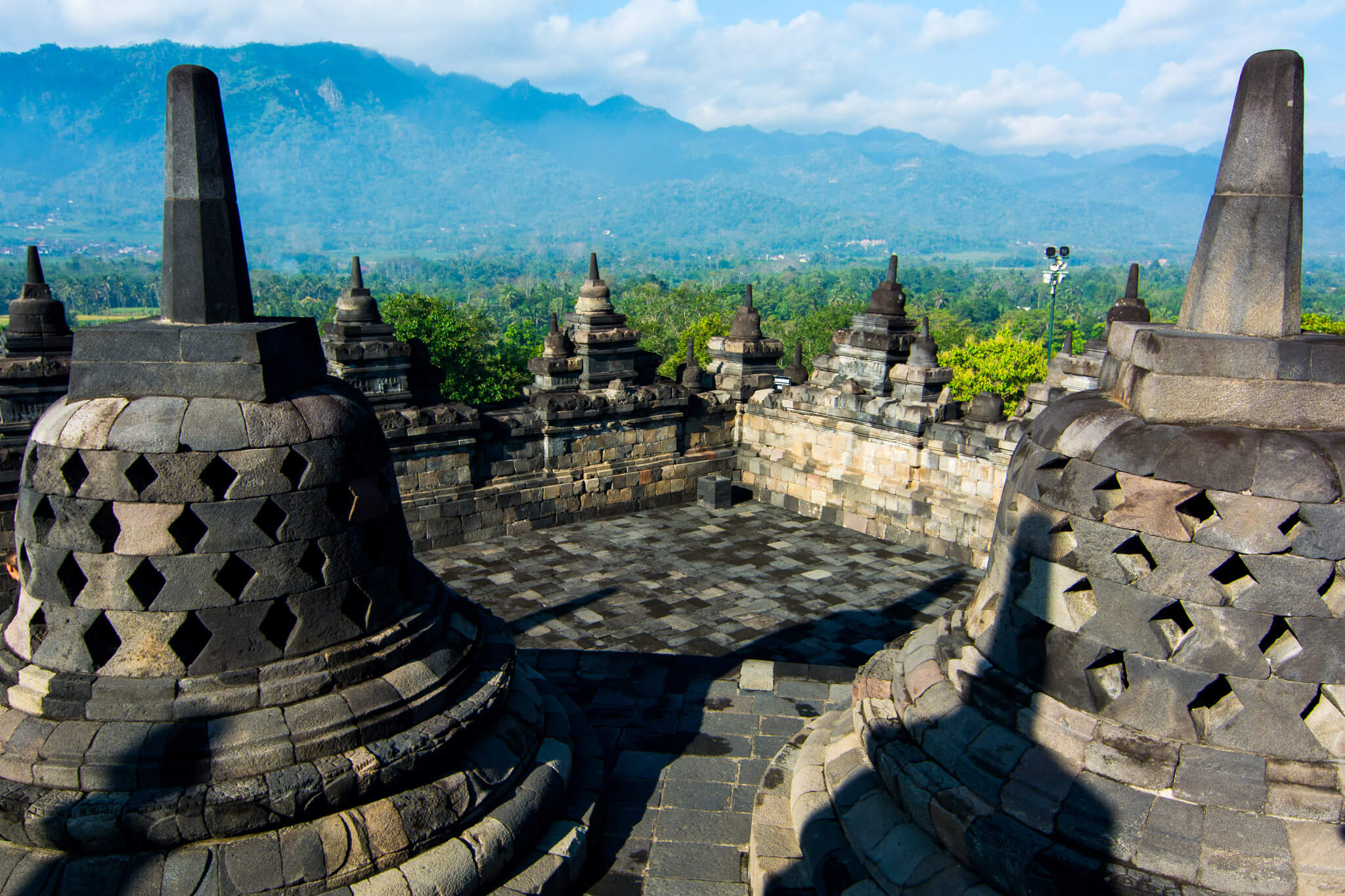 The bell stupas of Borobudur Temple