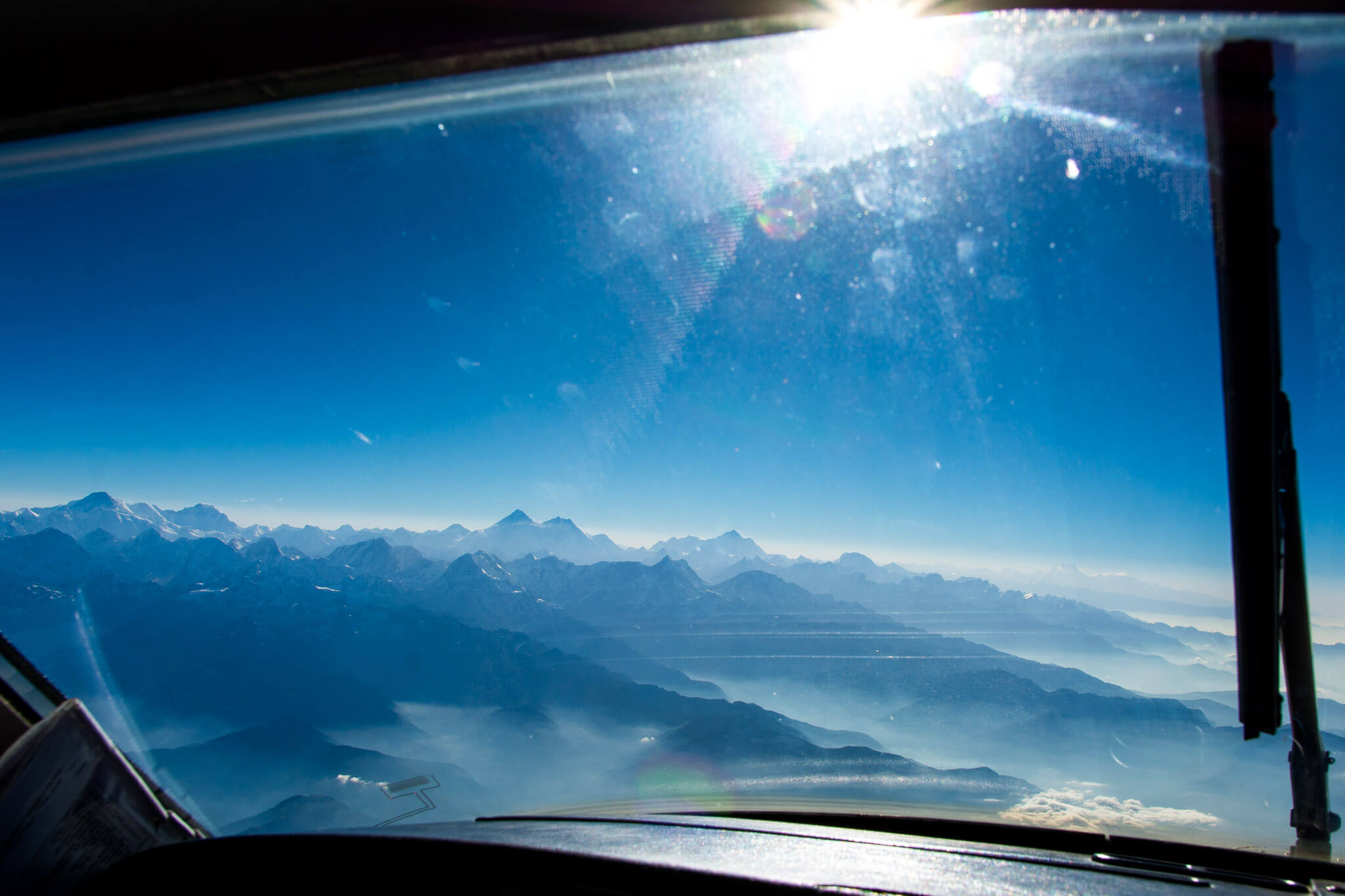 The view of Mount Everest from the pilot's cockpit