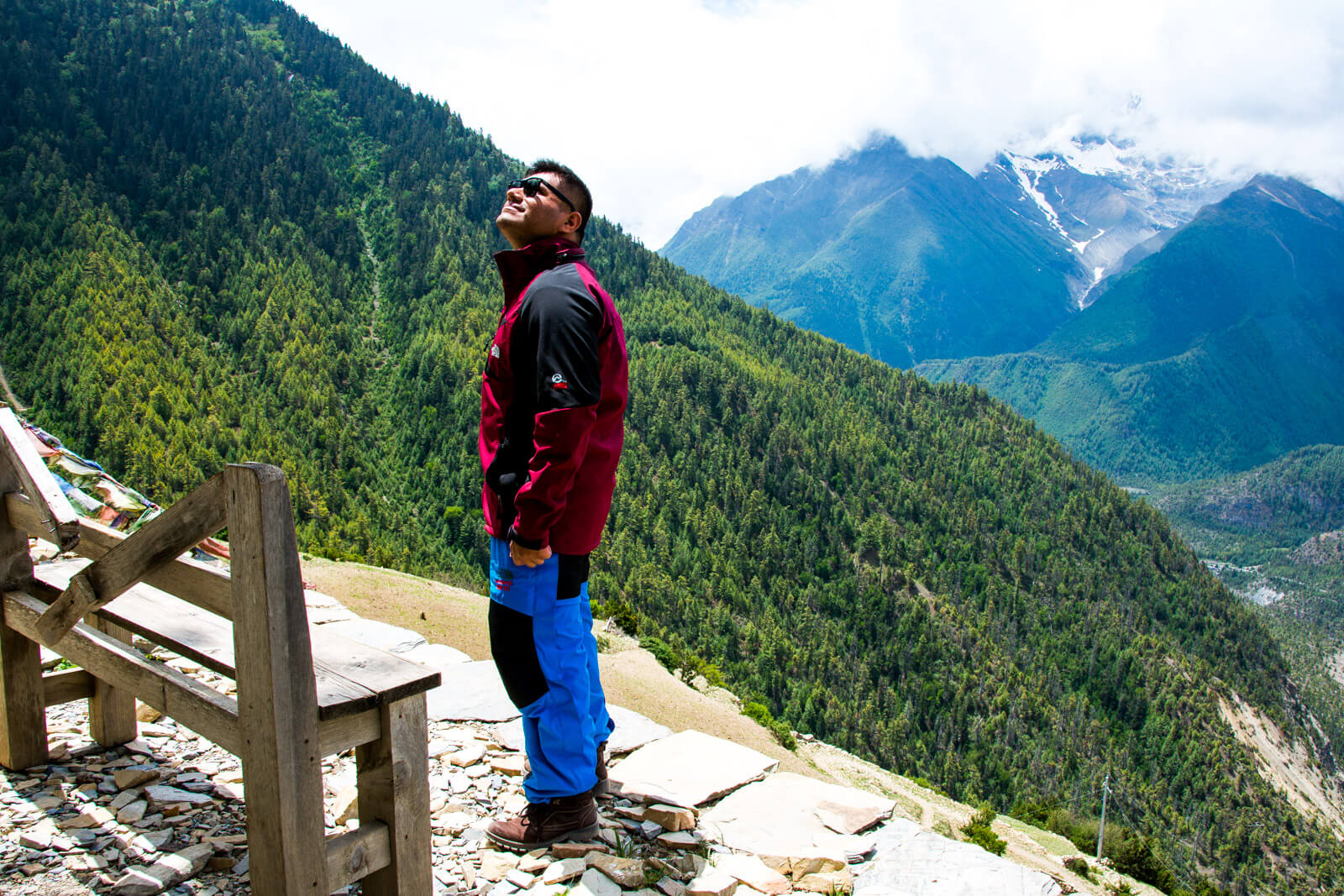 Taking a much needed panoramic trekking break during the Annapurna Circuit Trek