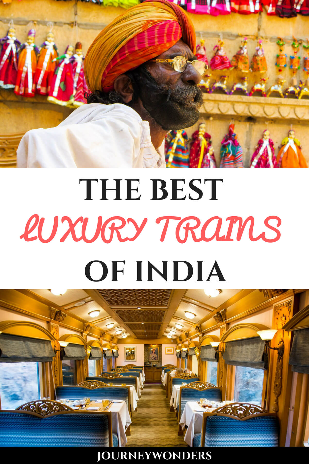 Interested in experiencing the luxury side of traveling in India? Check out this article about the Best 4 Luxury Trains of India: the Golden Chariot, the Maharaja's Express, the Palace on Wheels and the Deccan Odyssey !!! All aboard! #India #LuxuryTravel #LuxuryTrain