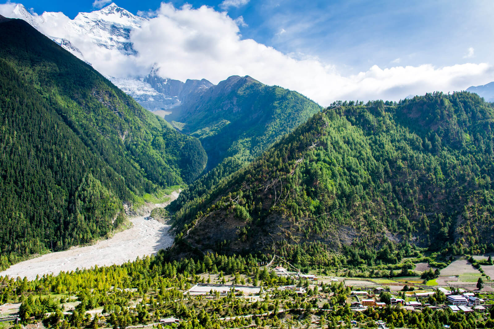 The view of the Annapurna Mountain Range from Upper Pisang, Annapurna Circuit Trek