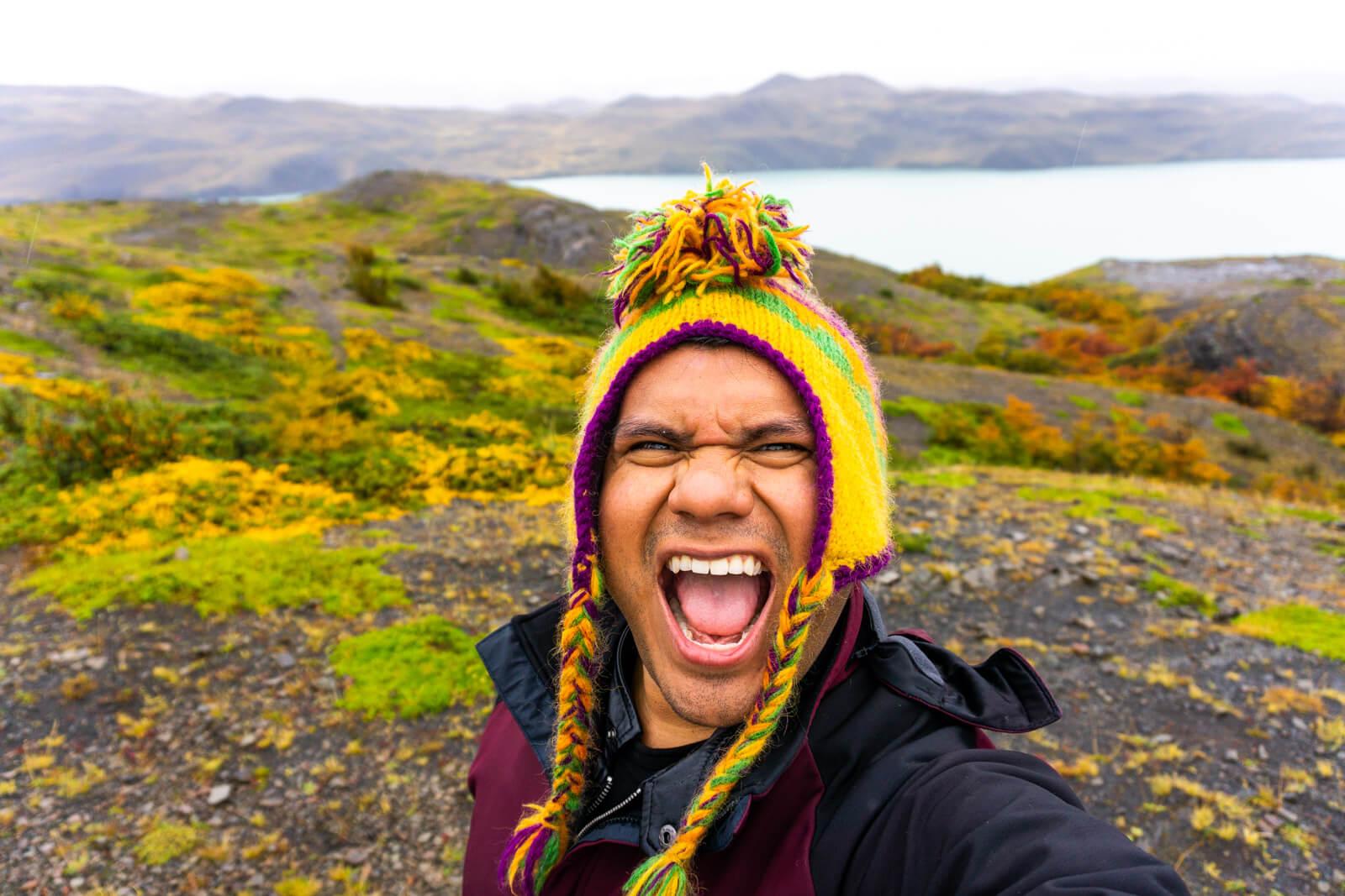 Torres del Paine W Trek Day 02 Selfie of Wonders under the rain