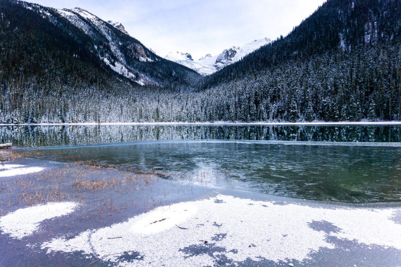 The First Joffre Lake, British Columbia, best photo stops on the Sea to Sky Highway during Winter