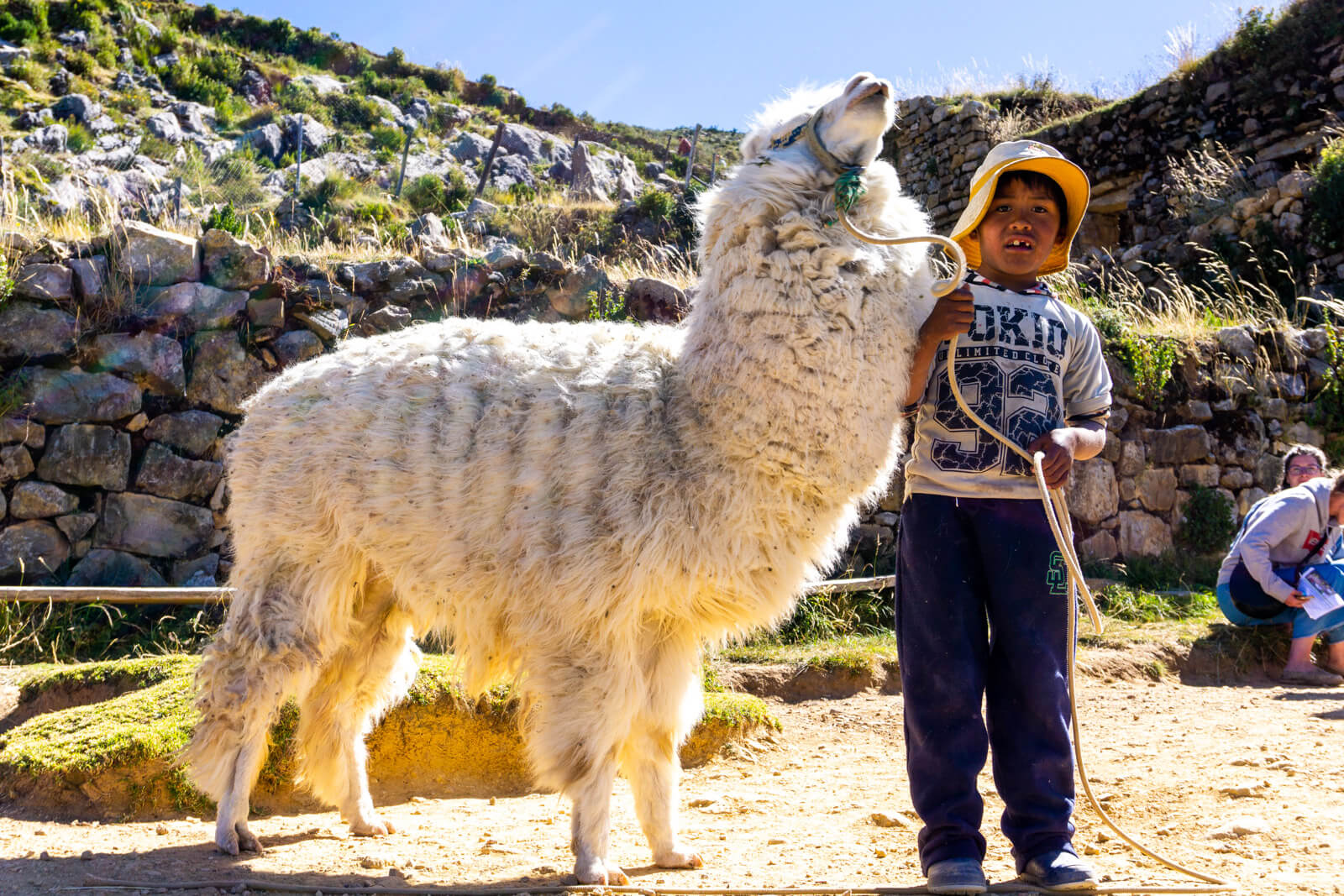 A boy and his best friend in Isla del Sol