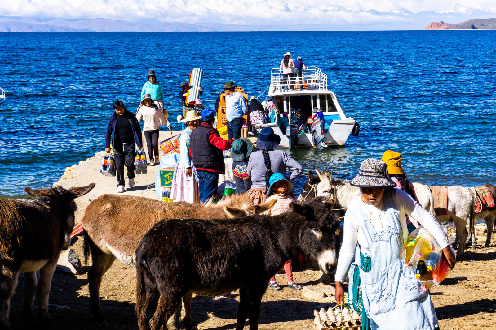 Bolivians taking the boat from Isla del Sol to Copacabana
