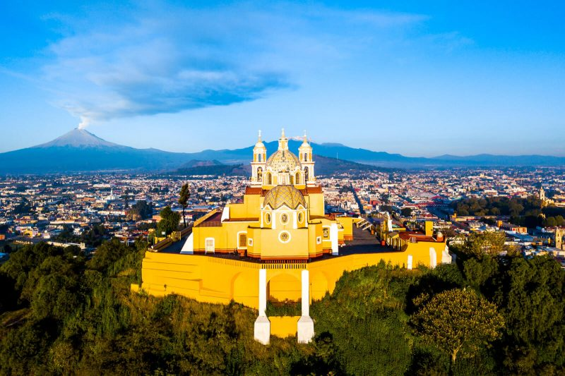 Close up of the Cholula Pyramid