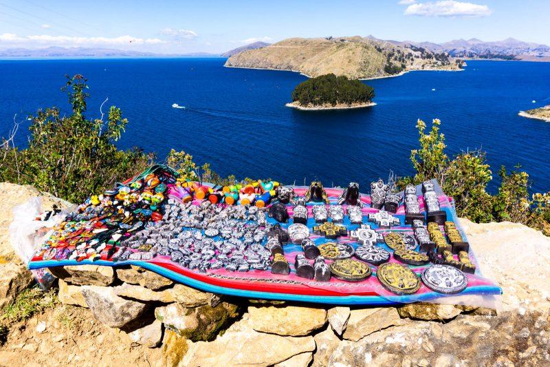 Souvenir salesman at Isla del Sol Bolivia