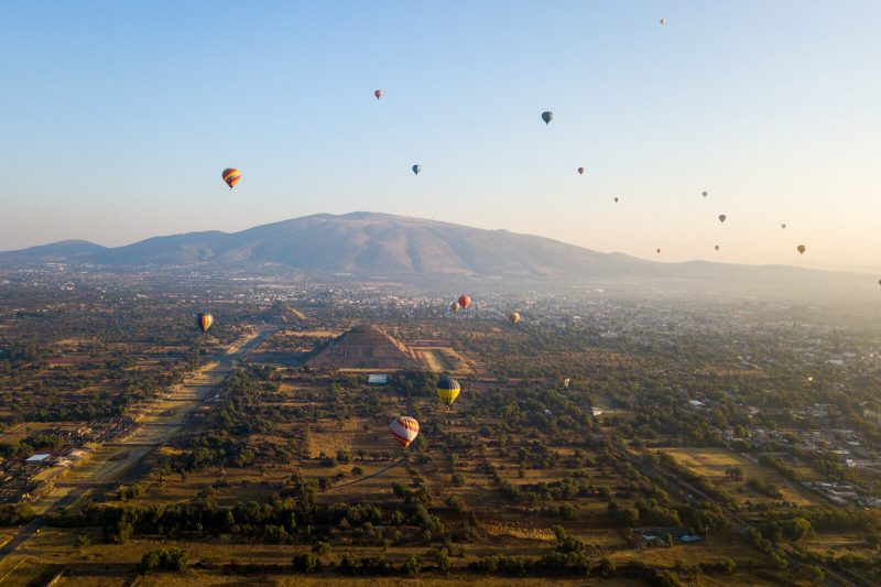 Epic sunrise of wonders at the Teotihuacan Pyramids
