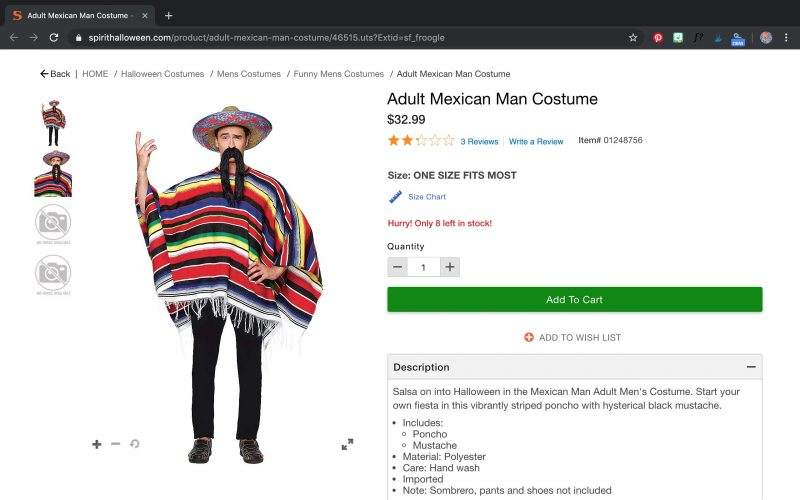 Mexican Man Costume for Halloween